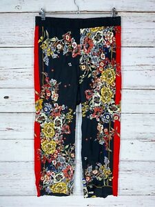 Cynthia Rowley Pants Womens Sz Large Black Red Multi Floral Pull On Rayon Crop