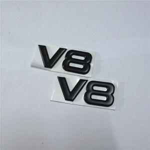 2x V8 Black Matte Metal Decal Badge Emblem Sticker Sport Engine Hatchback Racing