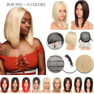 Short Straight Women Wigs without Bangs Bob Wig Synthetic Cosplay Party Black US
