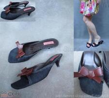 EUC$195 VIA SPIGA Blue Denim Brown Bow Leather Slides Sandals Heels 10M