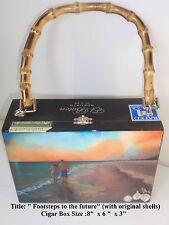 """Cigar Box Purse w/ Original Oil Painting """"Footstep in the sand""""  . The Best Art"""
