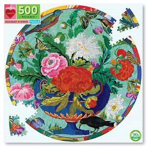 Bouquet & Birds 500 Piece Round Puzzle by eeBoo