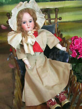 ANTIQUE Armand Marseille GERMAN bisque DOLL leather body ORIGINAL CLOTHES 20""