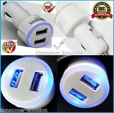 DOUBLE USB CAR CHARGER CIGARETTE ADAPTER WHITE FOR SAMSUNG GALAXY S8 S7 S6 S5 S4