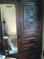antique victorian mahogany carved mirrored compactum wardrobe