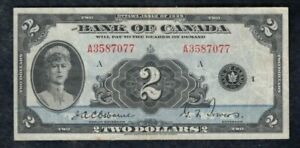1935 Bank of Canada $2 - Nice VF, English Series - S/N: A3587077/A