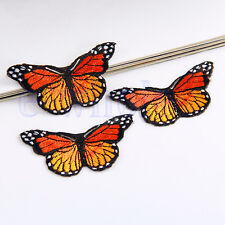 3 Orange Butterfly Embroidered Iron Sew On Patch Applique Fashion DIY Décor EW
