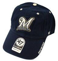 '47 Brand Mens MLB Milwaukee Brewers Baseball Clean-Up Strapback Dad Hat Cap New