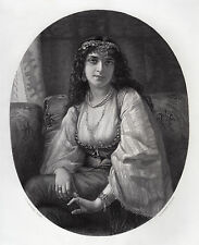 """Charles Louis Muller 1800s Engraving """"Beautiful Gypsy Girl"""" SIGNED Framed COA"""