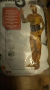 C-3PO Adult Men's Costume C3PO Star Wars Droid Golden Jumpsuit Rubies NWT