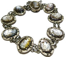 ANTIQUE OLD NOUVEAU DECO ABALONE SHELL CAMEO STERLING SILVER MARCASITE BRACELET