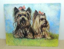 Yorkshire Terriers by Silton Dog Puppies Litho Textured Print Art Yorkies