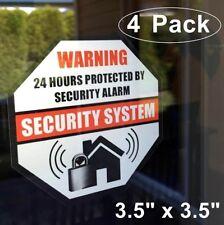 4 Home Business Security Burglar Alarm System Window Warning Vinyl Sticker Decal