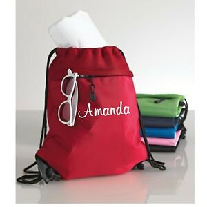 Personalized Monogrammed Drawstring Cinch Backpack Tote Bag Beach Cheer Travel