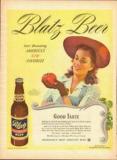 1944 Vintage ad for BLATZ Beer`Art`Pretty Lady`Tomato (120613)