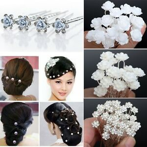 40pcs Wholesale Wedding Bridal Pearl Flower Crystal Hair Pins Clips Accessories