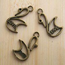 8pcs antiqued bronze swan design pendant charm G632