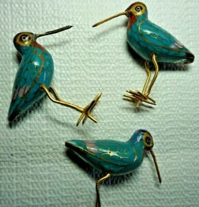 Vintage Cloisonné Long Billed Curlew Birds Set of 3 Gold Gilded Multicolor Décor