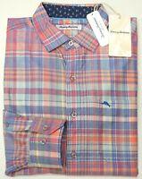 NWT $145 Tommy Bahama Pink Blue Plaid Long Sleeve Shirt Mens NEW