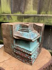 More details for antique painted wood indian column base hand carved corbel pillar architectural