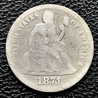 1871 Seated Liberty Dime 5c Better Grade RARE #17268