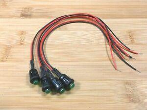 "4 Super Bright BBT 12 volt Green LED 3/8"" Snap-In Indicator Lights"