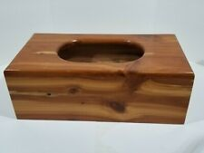 Handcrafted wood rectangle tissue box holder cover brown Vintage
