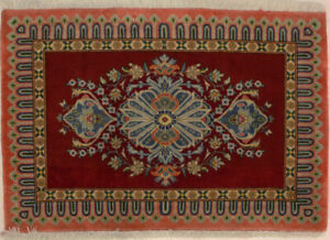 Handmade Vintage Classic Design 2X3 Red & Orange Small Oriental Rug Home Carpet