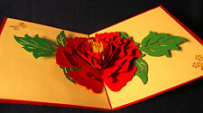 Cards with 3D pop-up flowers, birthday/any occasion, set of 5 - free shipping