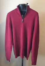 Tasso Elba Men's 1/4 Zip Textured Sweater Red Velvet Medium