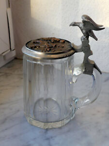 Bierkrug 1895 Glas Zinndeckel mit Bronzerelief + Gravur Widmung Drücker Adler