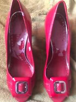 high heel shoes 8 1/2 RED Buckles