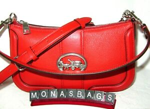 Coach 5500 Bright Poppy Red Georgie Baguette Shoulder Crossbody Leather Handbag