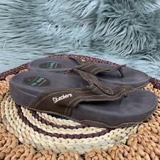 SKECHERS Tone Ups Sz 9 Brown Leather Strap Flip Flops Thong Shaper Sandals