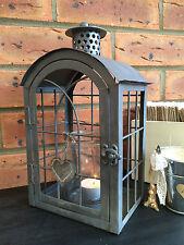 LANTERNA in Metallo Grigio Vintage Candela Tea Light Holder Heart Wedding Party Da Giardino