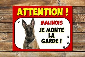 Plaque en aluminium Attention au chien Malinois
