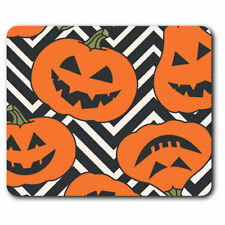 Computer Mouse Mat - Scary Pumpkins Halloween Pattern Office Gift #14438