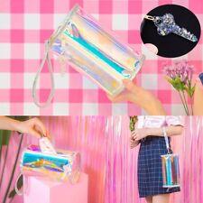 Women Girl Holographic Hologram Clutch Purse Laser Bag Party Handbag+Key Pendant