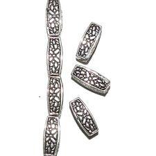 MBL7236L2 Dark Antiqued Silver Flower Deco 12mm Square Tube Metal Beads 50/pkg