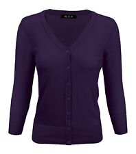 YEMAK Women's 3/4 Sleeve V-Neck Button-Down Basic Sweater Cardigan CO078 (S-XL)