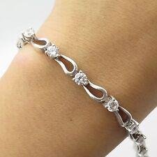 """925 Sterling Silver C Z Unique Cat Link Bracelet 7"""""""