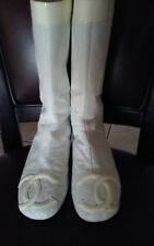 AUTH. CHANEL CAMBON CC LOGO FLAT BOOTS WHITE QUILTED LEATHER, MID-CALF  38 / US7