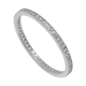 925 Sterling Silver Eternity Ring Engagement Wedding Band Cz Rhodium Plated