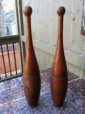 Two Extra Large Antique Wood Indian Juggling Pin (Exercise Clubs)