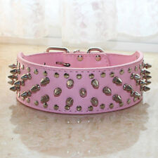2'' Wide Pink Leather Spiked&Studded Dog Collar PitBull Bully Boxer Terrier S-XL