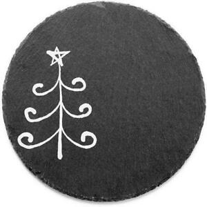 """Jay Imports Black Merry And Bright Curly Tree Round Slate Trivet 8"""""""