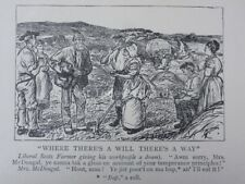 Scottish Humour FARMER - WHERE THERES A WILL THERES A WAY Antique Punch Cartoon