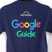 Google Guide Mens T Shirt Workday Internet Services Products Blue Size Medium