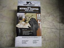 New ! 12 Pairs Wells Lamont Men's Large Nitrile Coated Work Gloves Black Size: L