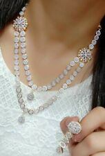 Indian Pakistan Bollywood American Diamond  Necklace Earings Party Wedding